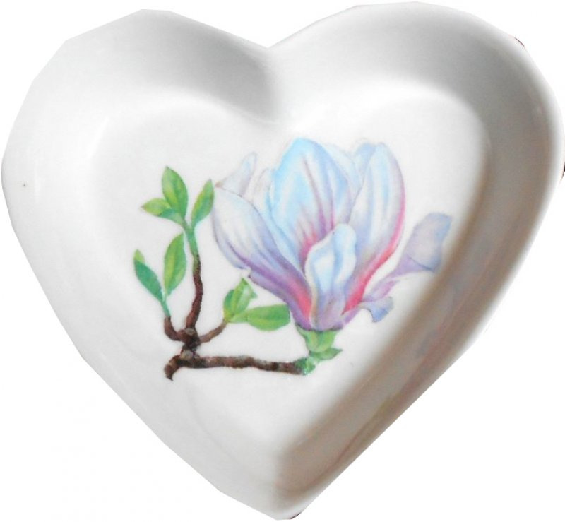 zarte Herz Porzellanschale Magnolie