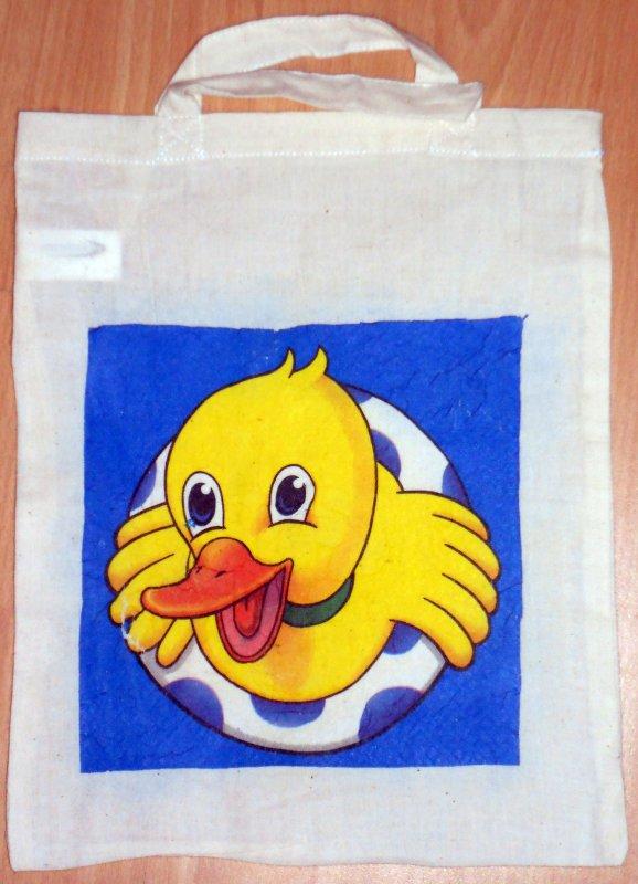 lustige Baumwolltasche Ente im Schwimmreifen