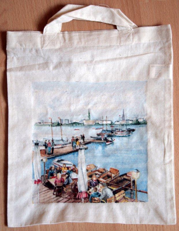 cotton bag funny city view Hamburg harbour