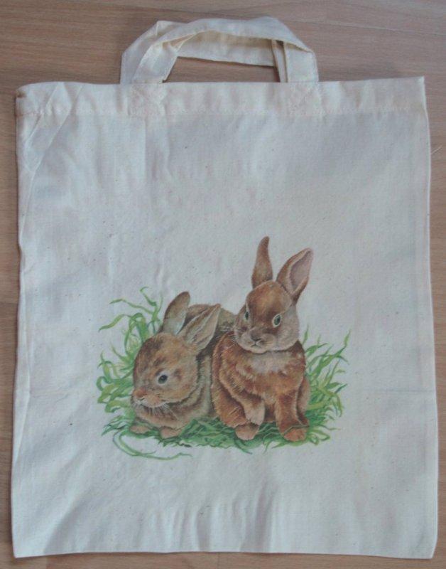 cotton bag beautiful rabbits in medow