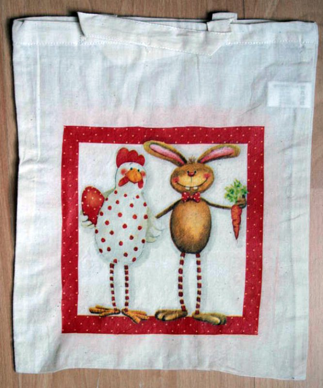 funny cotton bag rabbit and chicken with egg