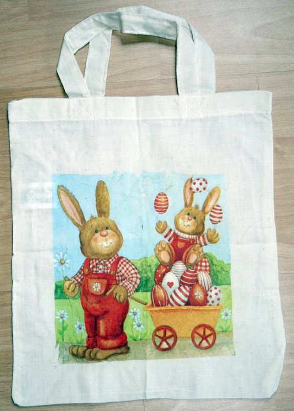 funny cotton bag rabbit with child juggling eggs