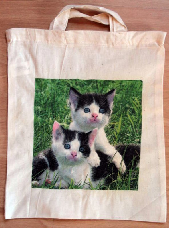 cotton bag beautiful cats black and white