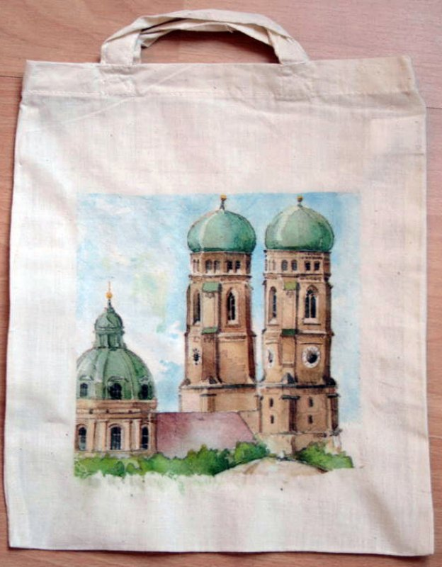 cotton bag funny city view Munich Frauenkirche