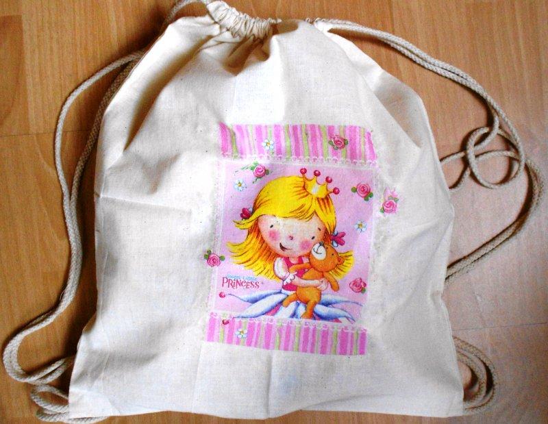 cotton duffel bag little girl with bear