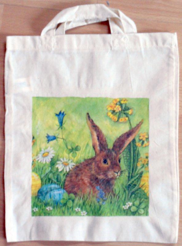 Baumwolltasche Frühling Blumenwiese mit Hase