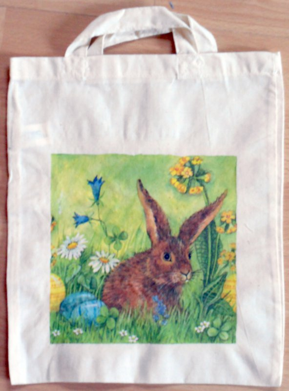 cotton bag beautiful rabbit in springtime medow