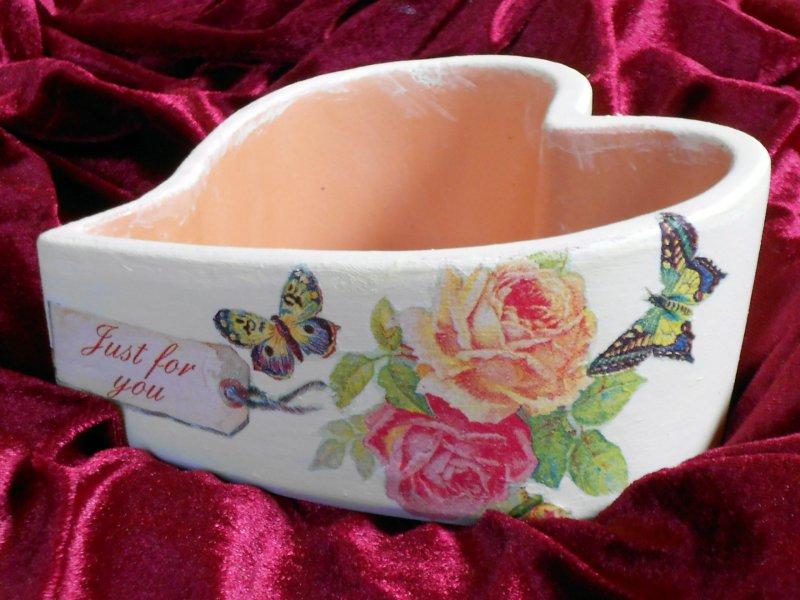Herz Pflanzschale Romantica - Rosen und Schmetterlinge