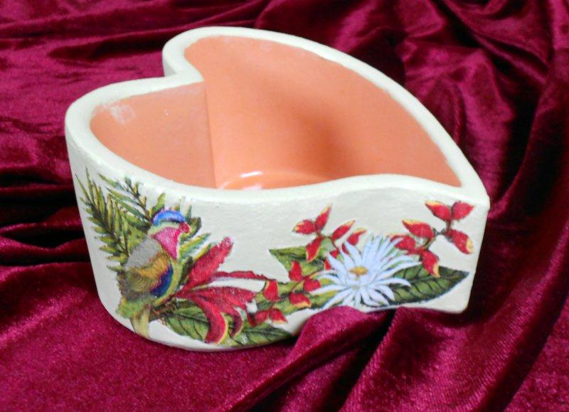 Herz Pflanzschale Papagei und exotische Blumen