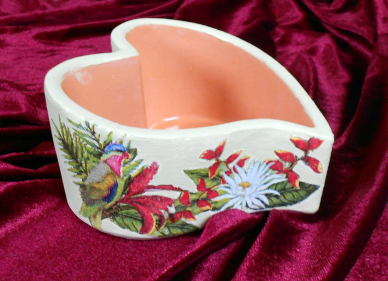 nice bowl lovely bird and flowers