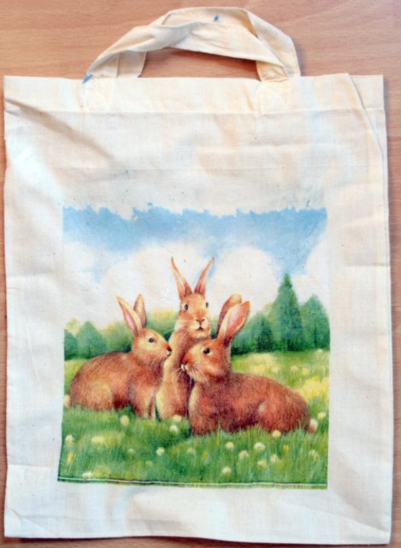 funny cotton bag 3 rabbits