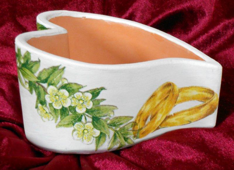 Herz Pflanzschale Hochzeit - Blütenzweige und Ringe