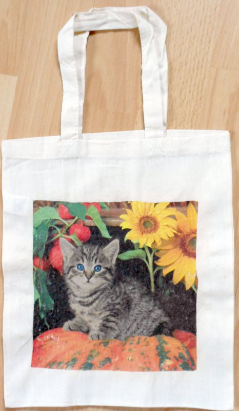 cotton bag cute cat under sunflower
