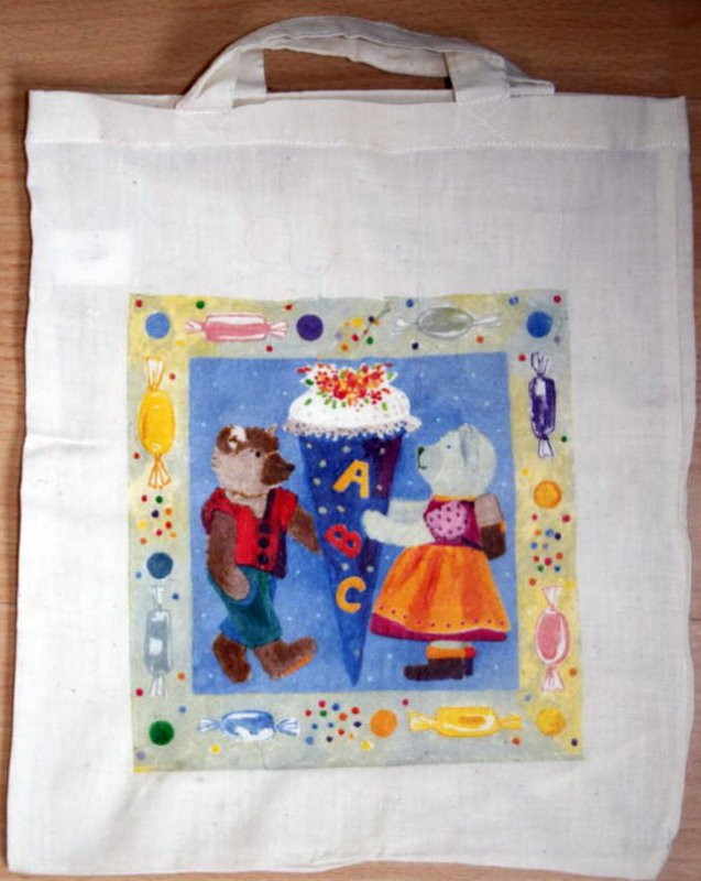 cotton bag funny bears school beginning