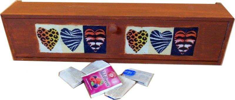 romantische ethno Teebeutelbox Afrika Herzen