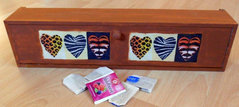 Tea bag box african hearts