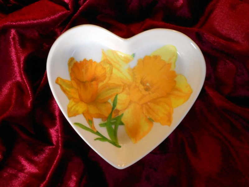 cute heart porcellain dish beautiful daffodils