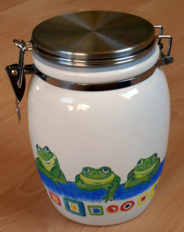 lustige kleine Keramik Vorratsdose relaxende Frösche