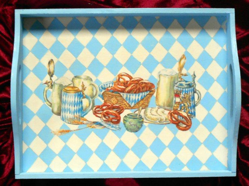 originelles Holztablett bayrische Brotzeit - Weißwurstfrühstück