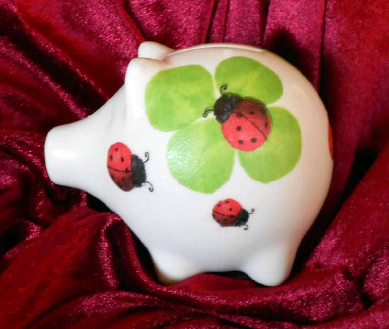 cute ceramic piggybank leaves and ladybeetle