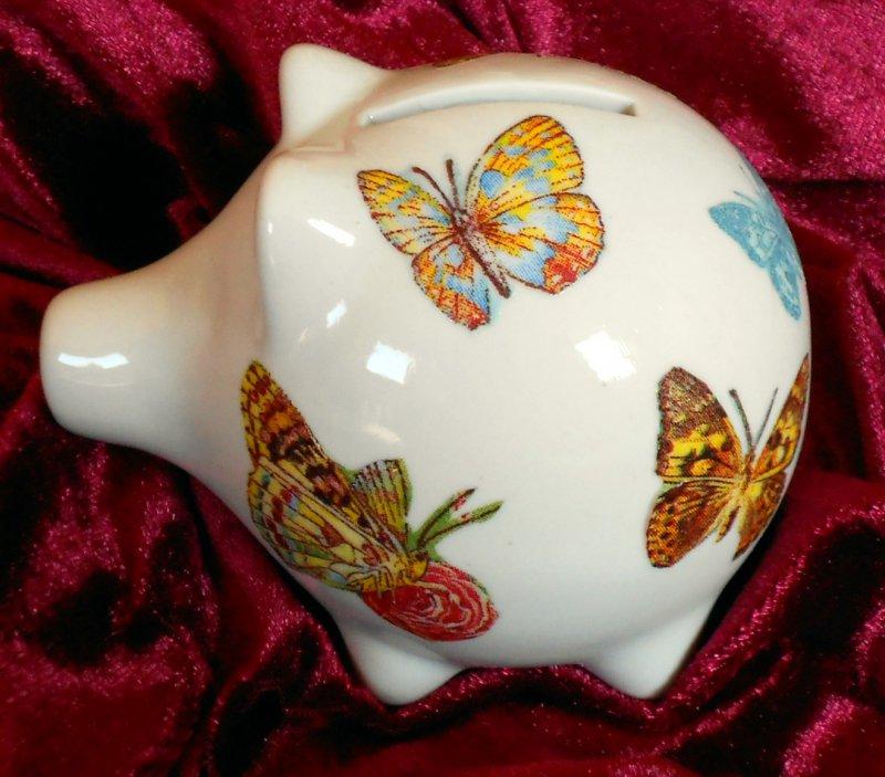 Porzellan Sparschwein wunderschöne Schmetterlinge
