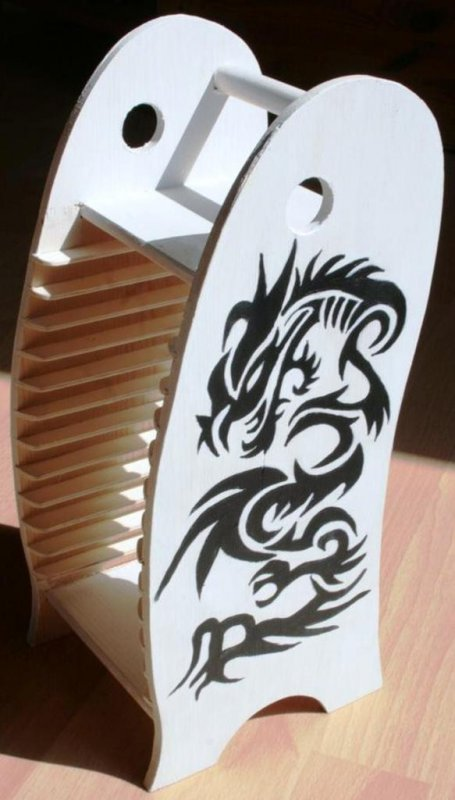wooden cd rack dragon