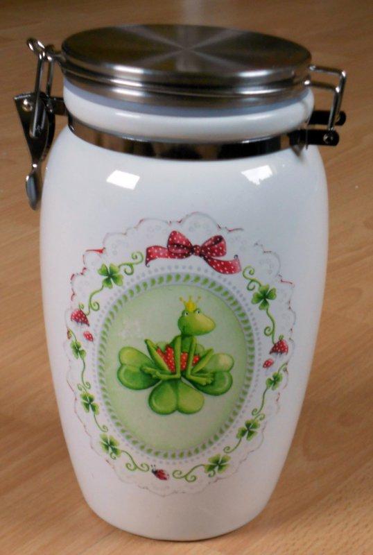 lustige Keramik Vorratsdose Frosch in Ornamenten