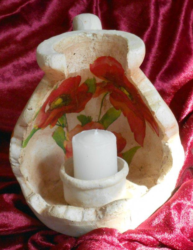 wunderschöner Kerzenhalter Zerbrochener Krug Mohnblumen