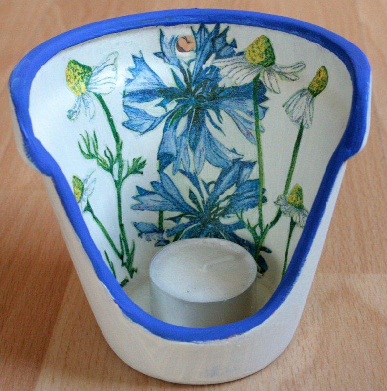 wonderful tealight holder cornflower and chamomile