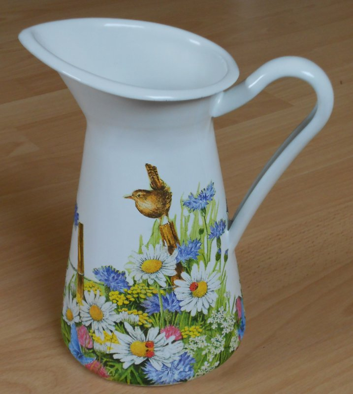 romantic emaille mug blowing meadow with little bird