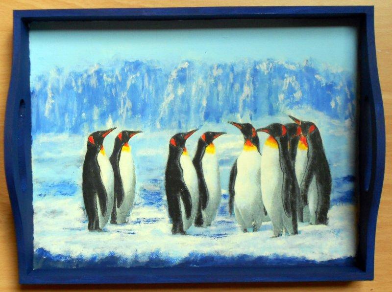 Holztablett Pinguine in der Arktis