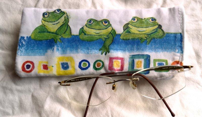 lustiges Brillenetui relaxende Frösche