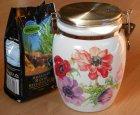frühlingshafte kleine Keramik Vorratsdose Anemonen