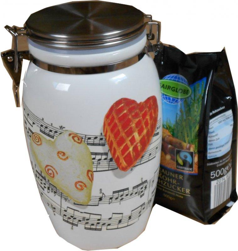 romantische Keramik Vorratsdose Musik Herzen