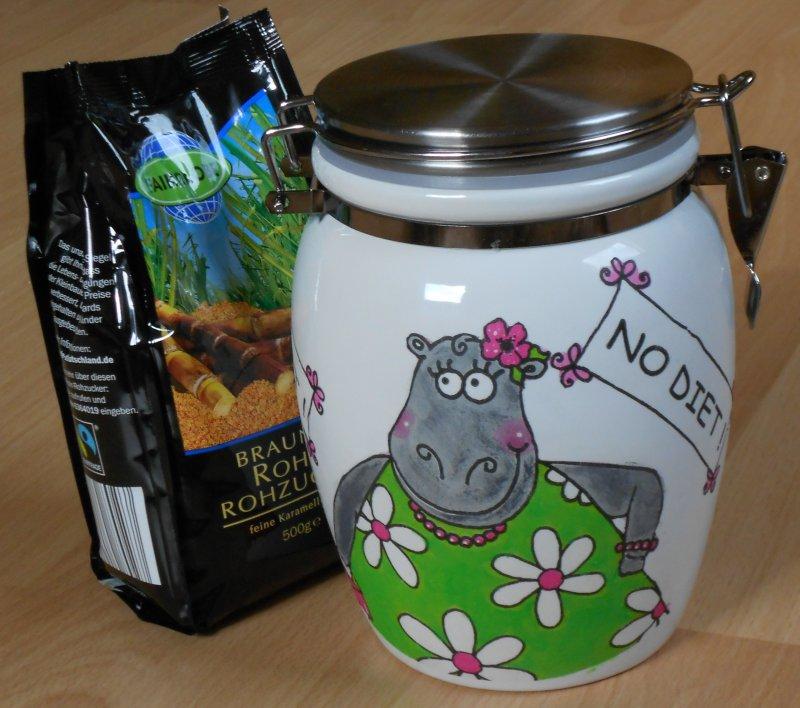 lustige kleine Keramik Vorratsdose Nilpferd - NO DIET