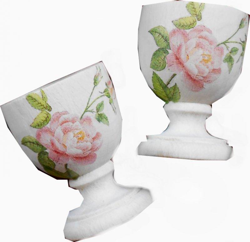 Paar wunderschön romantische Eierbecher Rosen shabby chic