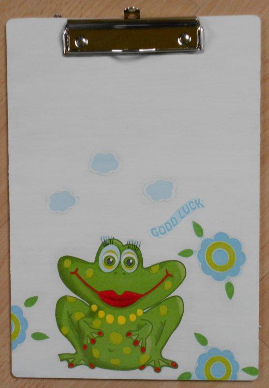 lustiger Notizblockhalter Frosch Dame - Good Luck