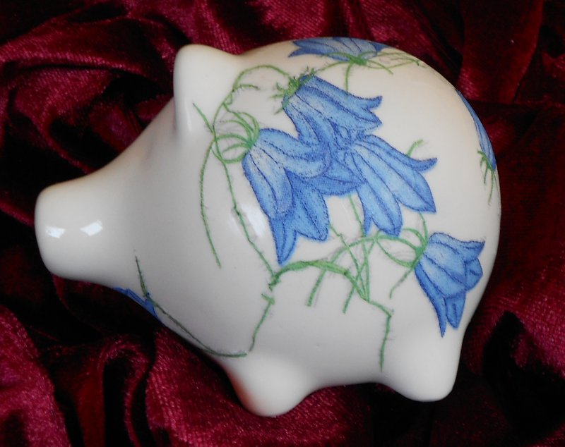 Blumen Porzellan Sparschwein Glockenblumen