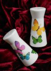 Porzellan 2-er Set Salz und Pfefferstreuer bunte Schmetterlinge