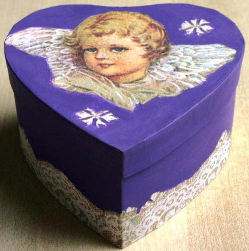 romantische Herz Geschenkschachtel Engel