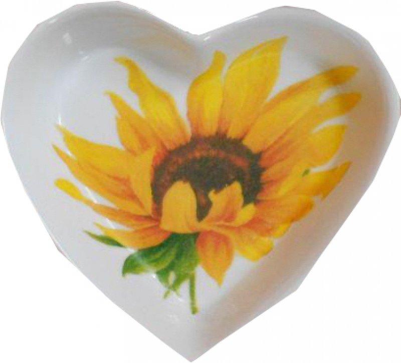sommerlich bunte Herz Porzellanschale Sonnenblumen