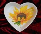 cute heart porcellain dish beautiful sunflower