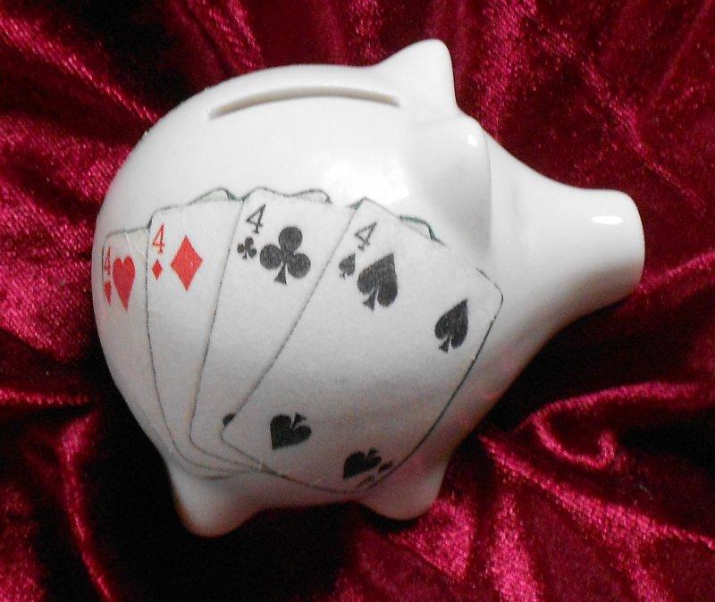 originelles Porzellan Sparschwein Poker