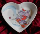 cute heart porcellain dish funny skiying mouse