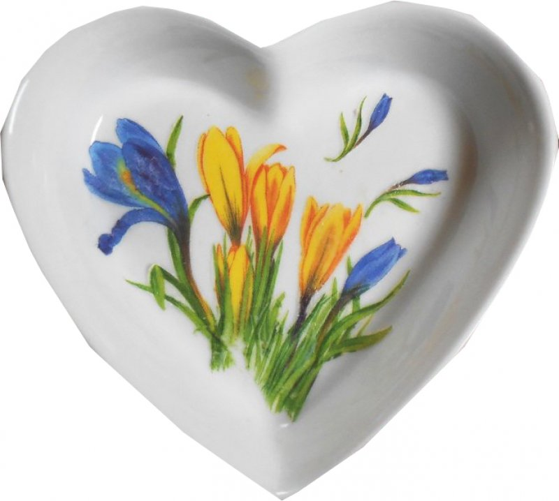 frühlingshafte Herz Porzellanschale Krokusse