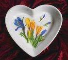 cute heart porcellain dish beautiful crocus