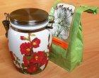 kleine Blumen Keramik Vorratsdose Stockrosen