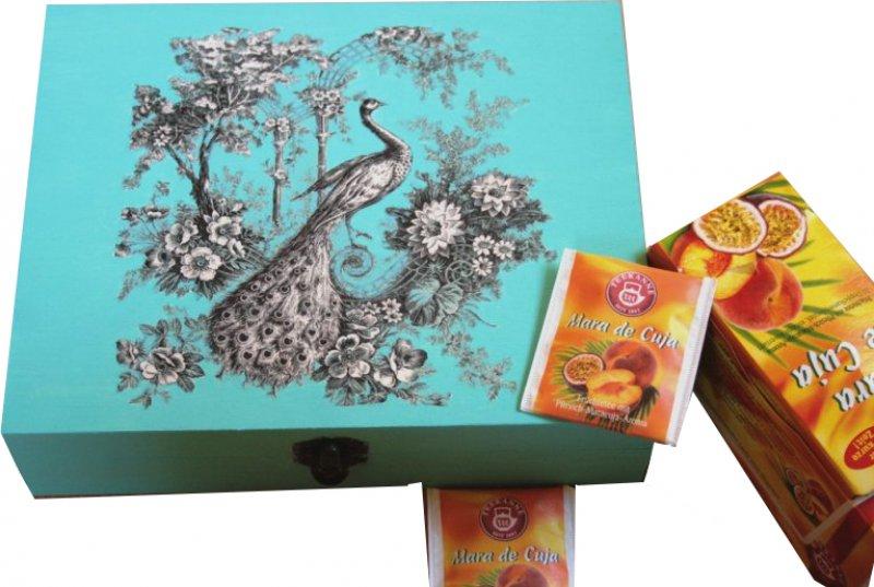 edel romantische Teebeutelbox Pfau in Blumen