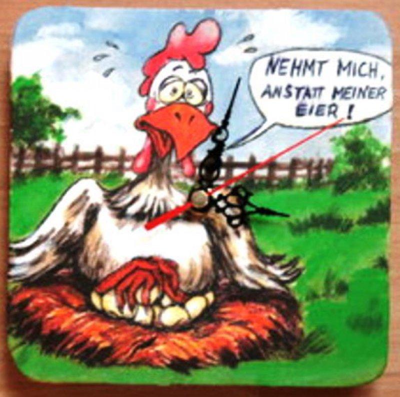Lustige Kuchen Wanduhr Verrucktes Huhn