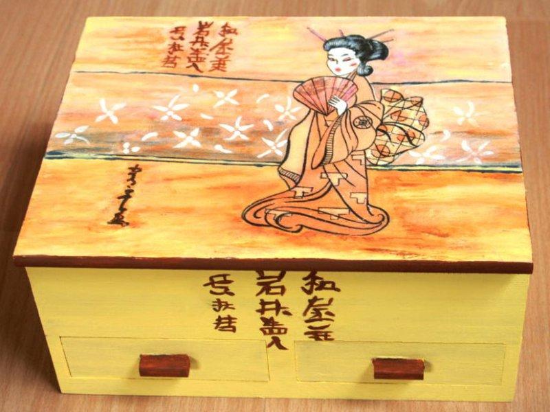 asian jewelery case beautiful geisha